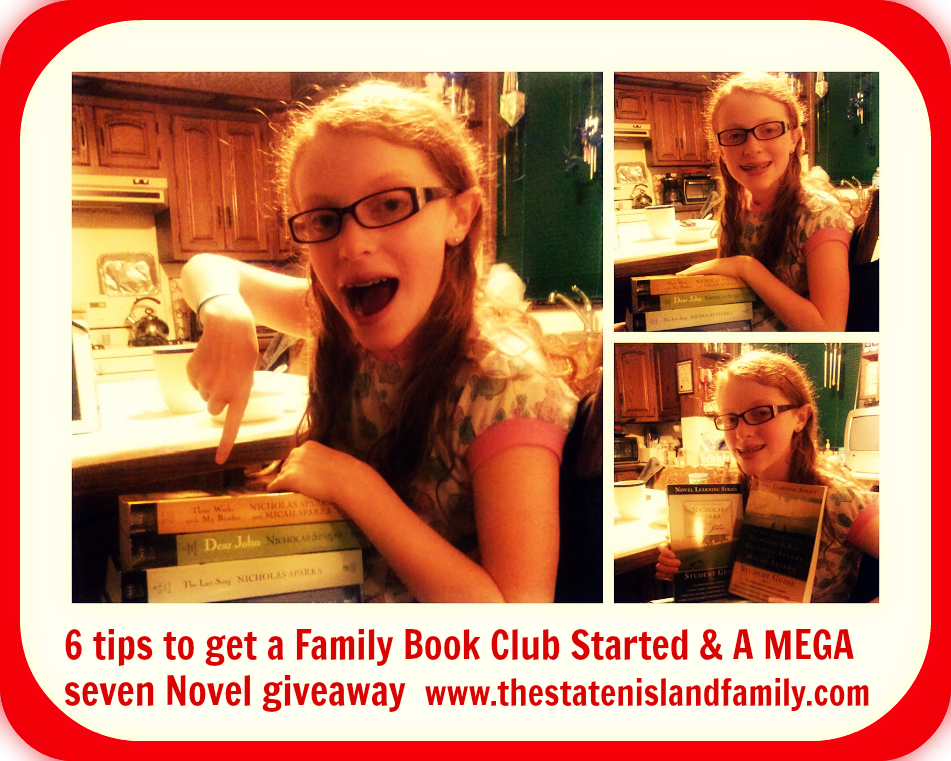 6 tips to get a Family Book Club Started & A MEGA seven Novel giveaway  www.thestatenislandfamily.com