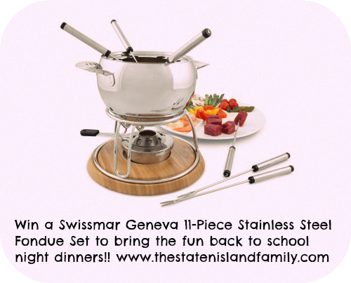 Win a Swissmar Geneva 11-Piece Stainless Steel Fondue Set to bring the fun back to school night dinners!!