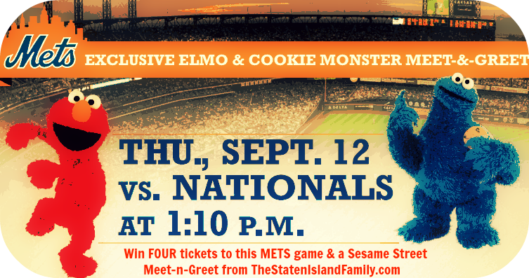 Win FOUR tickets to this METS game & a Sesame Street        Meet-n-Greet from TheStatenIslandFamily.com