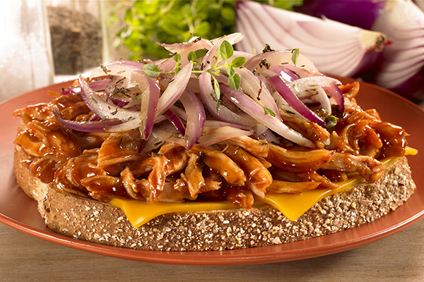 Recipe for  BBQ Chicken-Cheddar Sandwiches