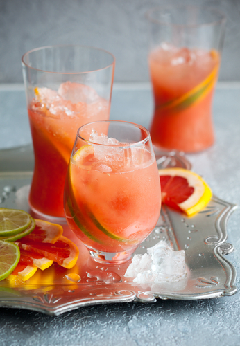 For a family affair, whip up the Pink Grapefruit Lemonade.