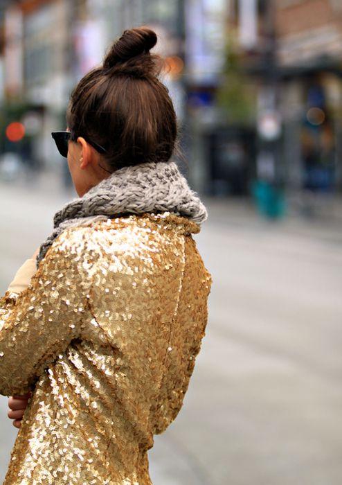 fashion jacket gold sequins