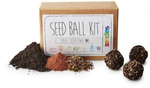 Sprout some smiles with this DIY seed ball-making kit. Have a Ball in the Garden This DIY kit lets you make your own little botanical bombs that explode into rainbows of color when deployed in your garden. It includes organic homemade compost, native non-GMO wildflower seeds for your growing region of choice, red clay, and step-by-step instructions to form your own seed balls. A great gift for curious kids or adult guerilla gardeners, it's a smile-sprouting, interactive way to make money-saving seed starters
