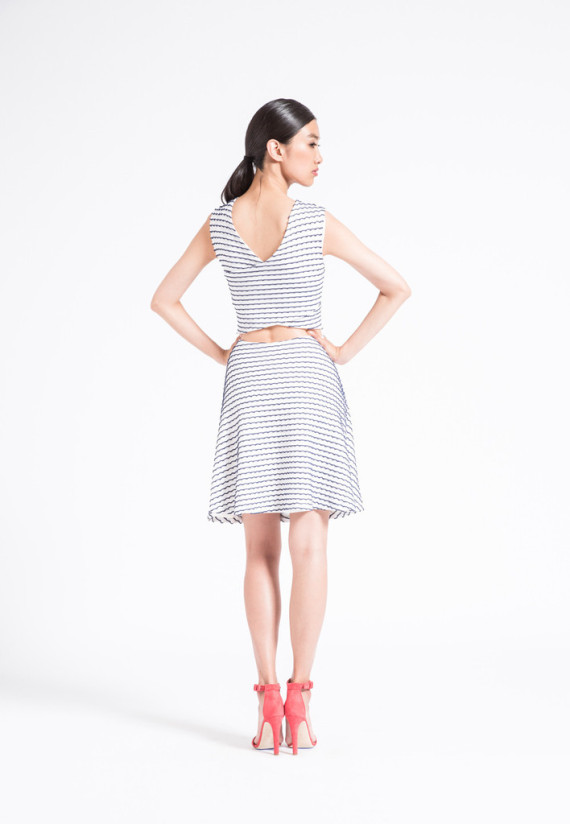 The Peek -A-Boo dress has so much personality! Adorable fit and flare shape makes for a comfortable wear, with a fashionable V-back and keyhole for a flirty unique look.