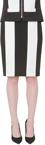 Update your look with this chic black and white pencil skirt. from Isaac Mizrahi. Features a chunky striped print.