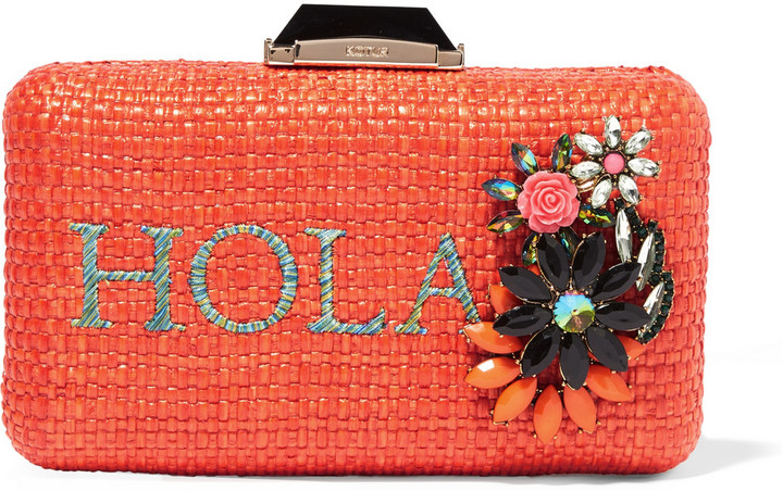 Kotur Hola Espey embellished raffia box clutch, Kotur's orange clutch is embellished with sparkling crystals arranged in a floral formation and embroidered with cobalt, turquoise and yellow threads spelling out the word 'Hola'.