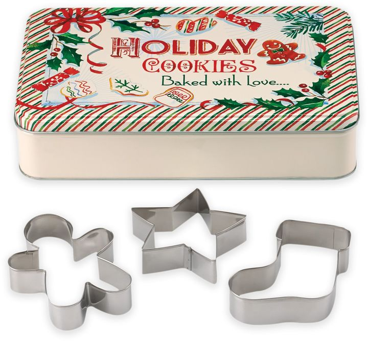 Featuring a reusable festive holiday tin with 3 traditional Christmas cookie cutters to make some delicious holiday treats.