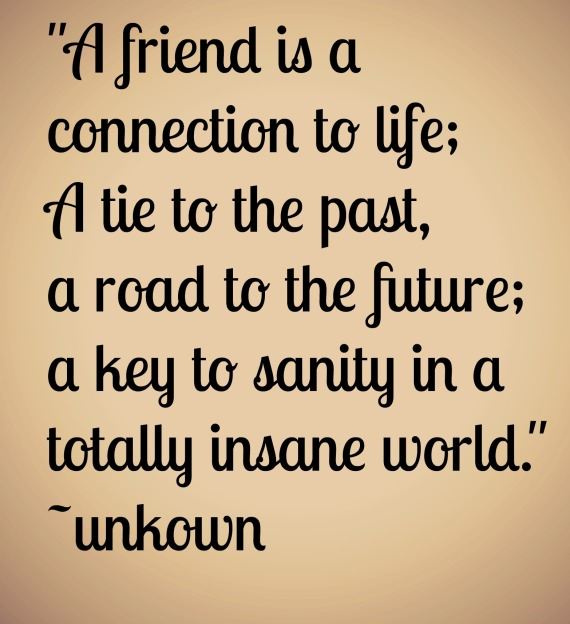 """A friend is a connection to life; A tie to the past, a road to the future; a key to sanity in a totally insane world."" ~unkown"
