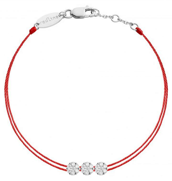 One, two, three times more diamonds and three times more brilliance for this gorgeous RedLine bracelet. This bracelet showcases three diamond illusion settings strung on two red strings.