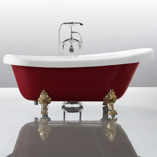 Relax and unwind in this luxurious freestanding soaking bathtub.