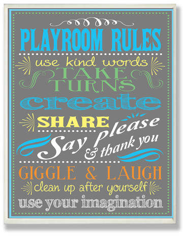 Bring charm and character to your little ones room with this lovely wall plaque. Perfect hung on their door or above their desk, it showcases a chalkboard motif with accents such as playroom rules