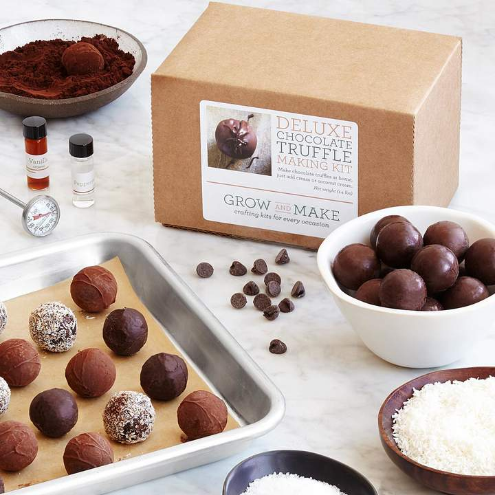 Make a box of melt-in-your-mouth chocolate truffles at home with this DIY kit