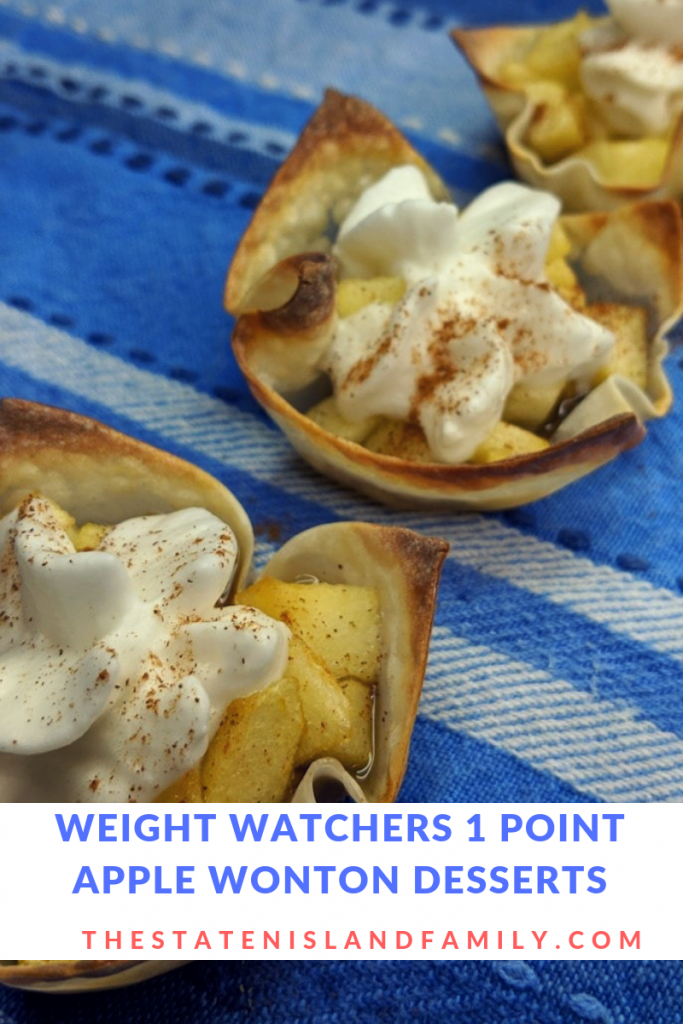 Make our Weight Watchers Apple Pie Mini Tarts in minutes!  This delicious wonton dessert recipe is going to become a favorite with minimal ingredients and only 1 SmartPoint each!  A perfect low point treat on your WW journey!